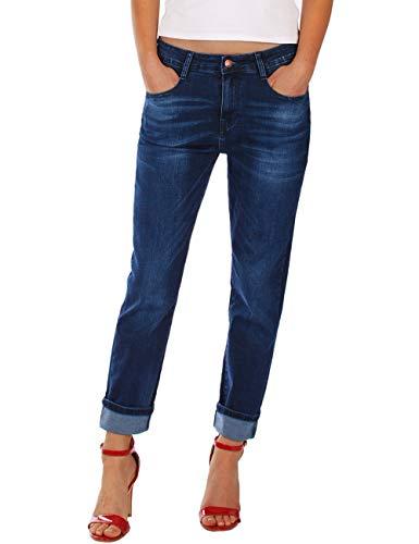 Fraternel Damen Jeans Hose Boyfriend Baggy Stretch Relaxed Dunkelblau XL