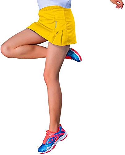 RainbowTree Women's Athletic Pleated Golf Skirt with Shorts Running Tennis Skorts Indoor Exercise,M-XXL Yellow