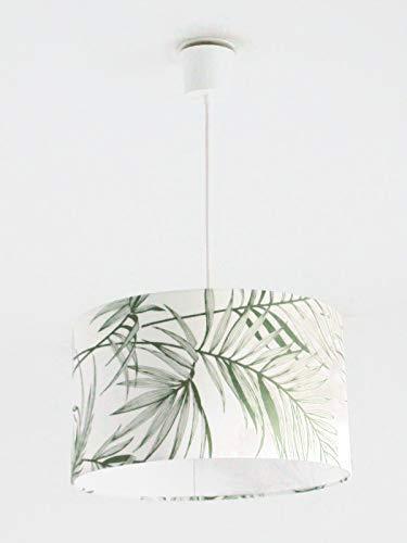 Lustre suspension plafonnier abat-jour feuilles vertes exotique tropical Luminaire diamètre personnalisé cylindre rond idée cadeau anniversaire décoration tendance