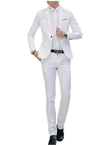 Letuwj Homme Costume Confortable Blazer + Pantalon de Costume Blanc X-Large