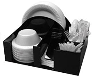 Paper Plate and bowl Barbecue Holder Napkin Dispenser Knife Fork Spoon Organizer, BBQ or Picnic Caddy (3014)