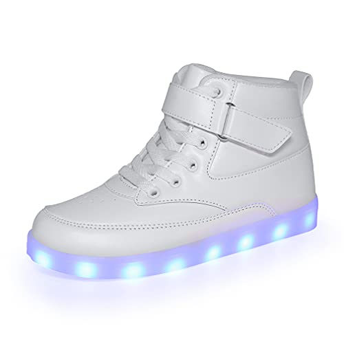 Voovix Unisex LED Shoes Light Up Shoes High Top Sneakers for Women Men white41