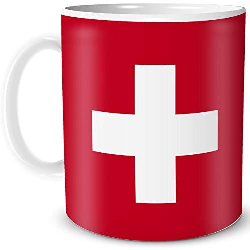 Teebecher mit Flagge Schweiz Länder Flaggen Geschenk Tassen Reise Souvenir Suisse für reiselustige Weltenbummler
