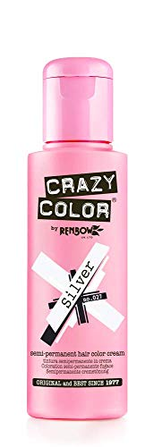 Renbow Crazy Color Semi-Permanent Hair Color Dye silver 027-100 ml, 1er pack (1 x 115 g)