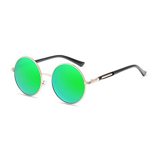 Qixuan QIXU Gafas de Sol Redondas Mujer Verde Lente Efecto Espejo Antirreflejante UV400 Vintage Retro Inspirado Círculo Metálico con el Caso