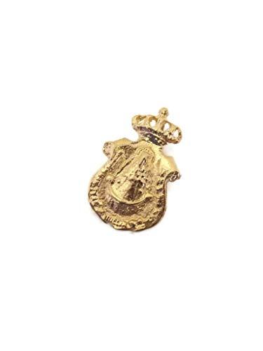 J.LUIS Medalla Virgen del Rocío de la Hermandad de Huelva en Oro 18K Colgante de Mujer Acabado Pulido Detalles Mate
