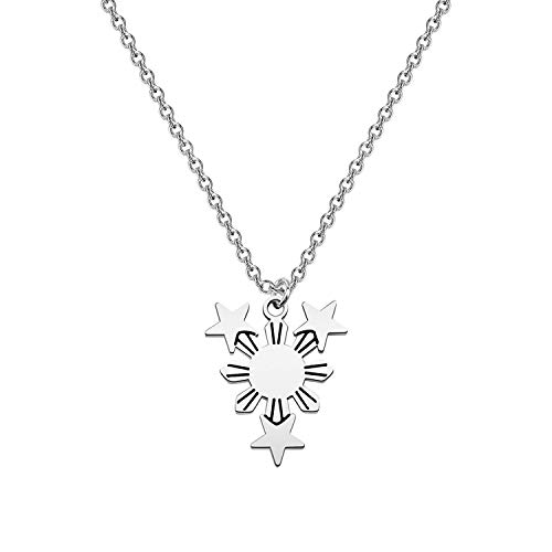 bobauna Philippine Sun Star Flag Necklace Filipina Philippine Pride Jewelry Gift For Filipino Family Friend (Philippine flag necklace)