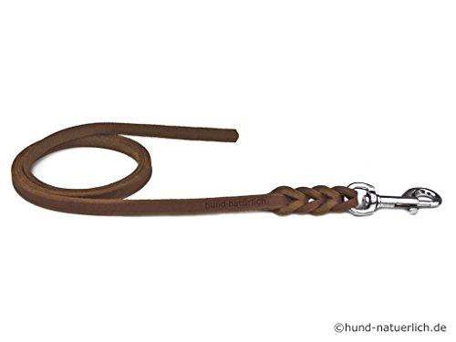 Fettlederleine 10m braun mit Chrom Haken, Schleppleine aus Leder für Hunde (10m x 8mm)
