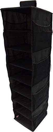 Neusu Armario Organizador Colgante Reforzado con Estantes - 8 Estantes Y 8 Bolsillos Laterales - Tejido 600D Fuerte - 30 cm x 30 cm x 125 cm (+100 litros De Capacidad) - Negro