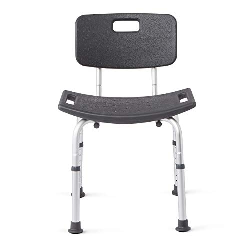 Medline Shower Chair Bath Bench With Back, Supportsup To 300 Lb, Infused With Microban Antimicrobial Protection, Gray Deluxe Bariatric Bath Bench