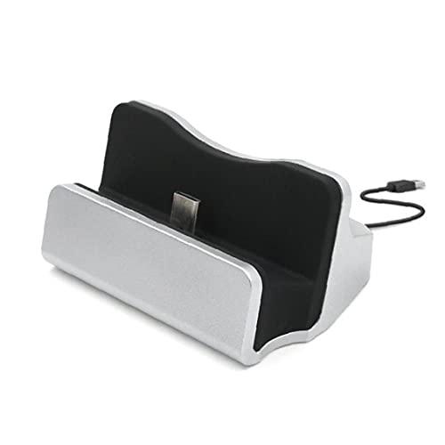 Tuimiyisou Cargador de teléfono móvil Cargador de Escritorio estación de Acoplamiento de sincronización de Datos Soporte USB de Carga y sincronización de Escritorio estación de Acoplamiento de Plata