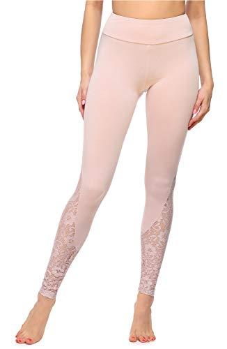 Merry Style Damen Lange Leggings aus Viskose MS10-306 (Puderrosa, M)