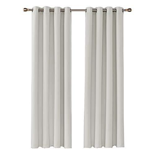 Amazon Brand – Umi Cortinas Opacas Salon Dormitorio con Ojales 2 Paneles 140x260cm Beige Claro