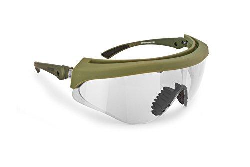 Ballistische Schutzbrille Schießbrille Sicherheitsbrillen Beschlagungsfrei Bruchsicher lens von Bertoni Italien - Arbeitsschutzbrille AF869 - Militär-Grün Soft-Touch (Transparente Linse)