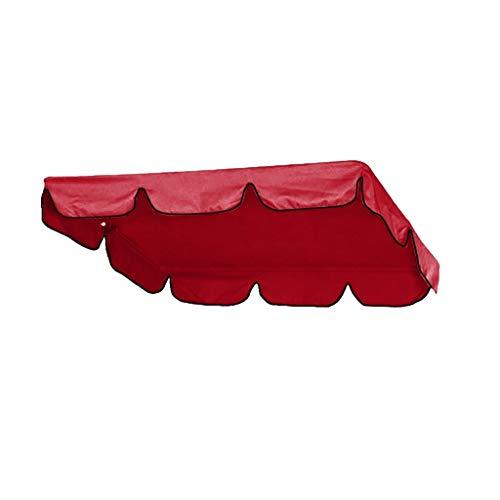 Ersatzdach Gartenschaukel Universal DREI-Personen Hollywoodschaukel Swing Seat Cover UV Ersatz Bezug Bettfunktion Liegefunktion Schaukel Sonnendach Schaukel 195x125 x 15 cm (Rot)