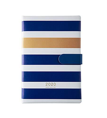 Mobrvo - Agenda 2020 diario de 2 días por página de enero a diciembre, formato A5, tapa de piel sintética, color azul