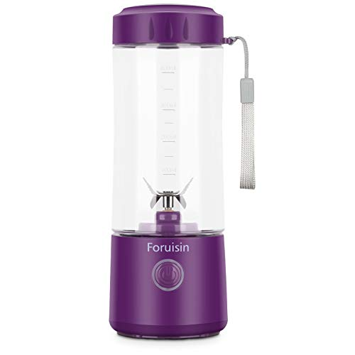 Foruisin Portable Personal Blender, 14oz Household Mini Juicer, Fruit Mixer Cup, 4000mAh USB Rechargeable with Six Blades, Ideal for Crushed Ice, Shakes, Smoothies, and Baby Cooking