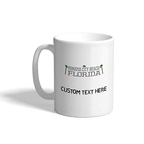 Taza de café personalizada de 11 onzas, ciudad de Panamá, playa, estados de Florida, mapa de nombres, taza de té de cerámica, texto personalizado aquí