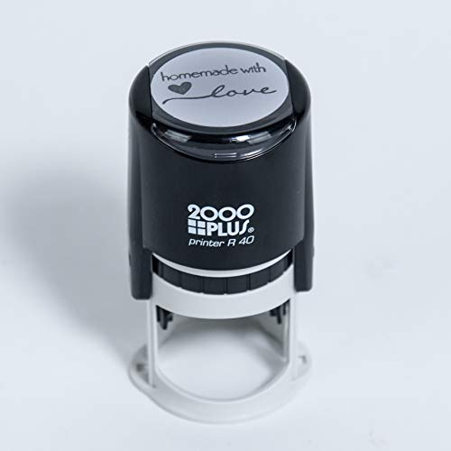 """Homemade with Love Self-Inking R40 Round Stamp, 1 1/2"""" Diameter, Black Ink"""