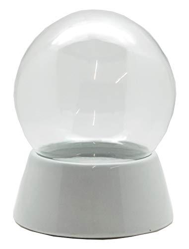 40036-150mm-Do-it-Yourself Schneekugel mit Glaskugel und Porzellansockel grau für Einbau Spieluhr