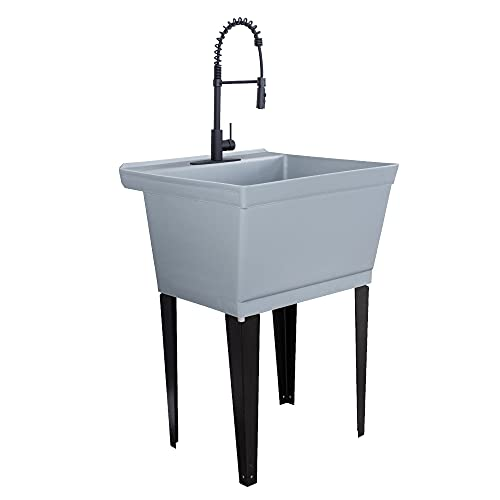 Utility Sink Extra-Deep Laundry Tub in Grey with High-Arc Coil Pull-Down Sprayer Faucet in Matte Black, Integrated Supply Lines, P-Trap Kit, Heavy Duty Floor Mounted Freestanding Wash Station