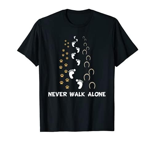 Lustig Hund Pferd Reiter Never Walk Alone Hund Pferd Reiten T-Shirt