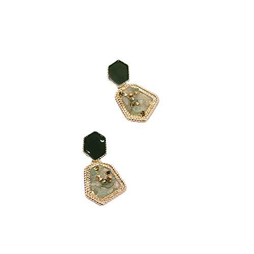 bjyxszd Pendientes Colgantes Zirconia cúbica Plata de Ley 925,S925 Pendientes franceses genuinos chapados en la Aguja, Pendientes de Pendientes de Cristal de Cristal Verde