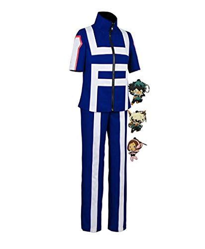 ZeroGoo Anime Mha Bnha Cosplay Halloween Costume Uniform,with 3 Pack Deku Midoriya Bakugou Uraraka Keychains (Large, Blue)