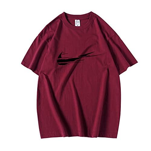 Männer Slogan T-Shirt Gedruckt S Lose Kurzarm Paare Tour T-Shirt Männer Wein Rot S.