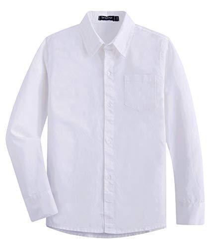 Spring&Gege Jungen Hemden Baumwoll Formelle Uniform Langarm Hemd für Kinder, Weiß, 152-158