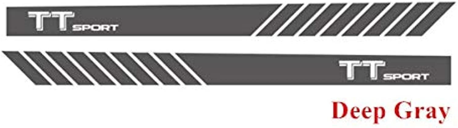 Racing Sport Vinyl Decal Car Styling Door Side Skirt Stripes Auto Body Decor Stickers for Audi TT 20152018  (color Name  Dark Grey)