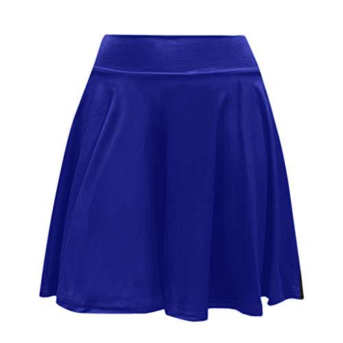 Sylar Faldas Mujer Cortas Verano 2019 Casual Faldas Plisadas Mujer Color Sólido Falda De Línea A Cintura Alta con Pretina Elástica