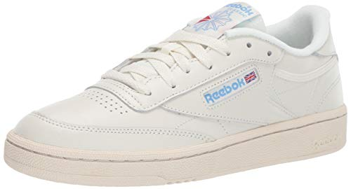 Reebok Women's Club C 85 Sneaker, Chalk/Paper White/Athletic Blue/Excellent red, 8
