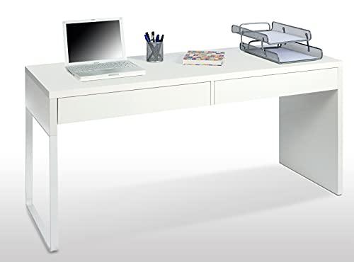 Habitdesign Mesa Escritorio con 2 Cajones, Mesa de Despacho, Mesa de Oficina, Modelo Touch, Color Blanco Artik, Medidas: 138 cm (Ancho) x 50 cm (Fondo) x 75 cm (Alto)