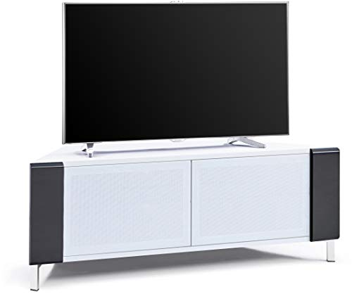 """MDA Designs CORVUS Corner-Friendly Gloss White Contemporary Cabinet with Black Profiles White BeamThru Glass Doors Suitable for Flat Screen TVs upto 50"""""""