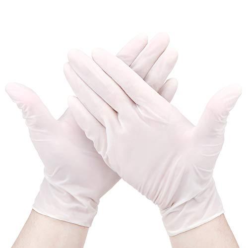 Hseamall Nitril-Einweghandschuhe, puderfrei, latexfrei, antiallergisch, verschleißfest, Weiß, 100 Stück, L, weiß, 100