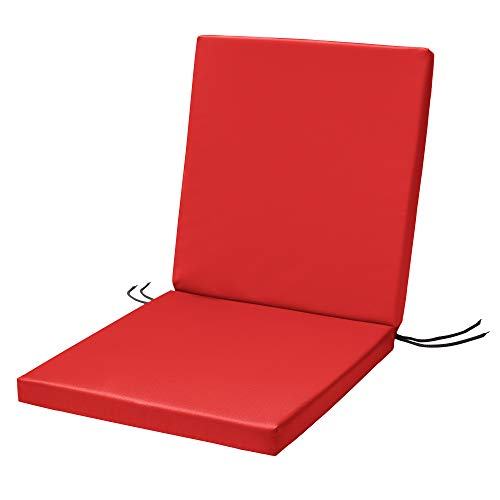 Waterproof High Back Chair Cushion With Ties 120x45x4cm | Indoors/Outdoors Patio Seat Pad Cushion For Garden Chairs, Loungers, Recliner, Relaxer | Water-Resistant Material |Red