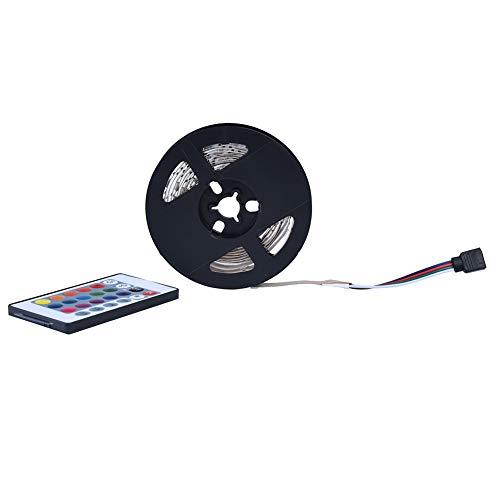 AUNMAS Tiras de Luces LED Que cambian de Color Tiras de Luces LED 5050 SMD RGB Luces LED Flexibles con Control Remoto IR y Fuente de alimentación de 5V para el hogar del Dormitorio(5M 150LED)