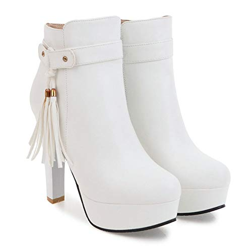 SHZSMHD Chunky High Heels Dameslaarsjes herfst winter platform Dames laarzen Large Colorsize Fashion schoenen Zwart Beige