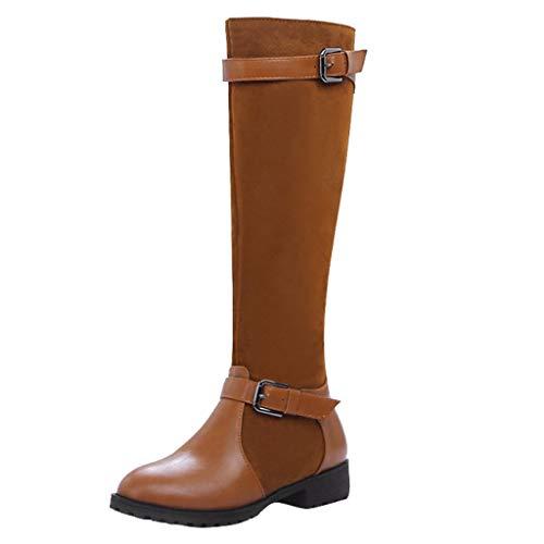 Hniunew Knee Stiefel Damen Hohe Stiefel Length Leather Klassische Stiefeletten Overknees Boots College-Stil Schlupfstiefel Kniehohe Stiefel Schnalle Booties Flache Stiefel