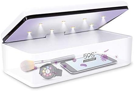 Esterilizador UV, 59S UV Esterilizador Caja LED con 8 Bolas Lámpara de Esterilización Rápida 99.9%, Adecuado para Teléfonos Celulares, Gafas, Estética, Herramientas de Belleza y Cuidado Personal, etc