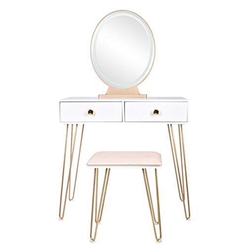Vanity Table Set with Mirror Bedroom Iron Simple Dressing Table Dressing Stool Golden Iron Foot white Desktop With Light Three-Color Adjustable Makeup Dressing Table Set