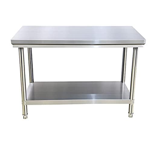 Mesa de acero inoxidable, fácil de instalar, mesa de preparación de cocina con estante inferior, con pie de mesa ajustable, se adapta para su uso en restaurante, negocios, almacén, hogar, cocina, ga