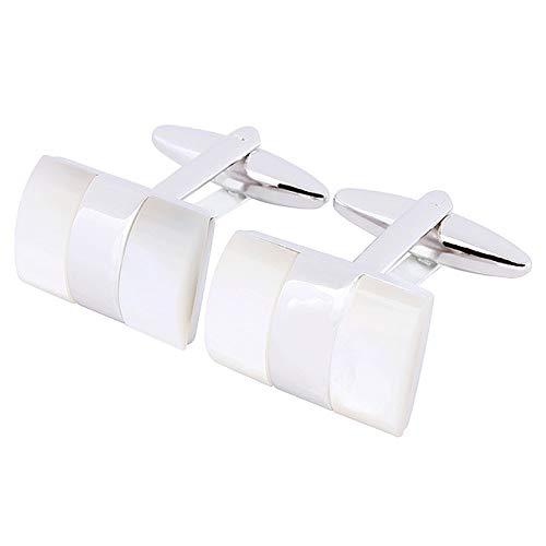 XKSWZD Camisa de Moda Masculina Botón Madre Gemelos de Perlas Camisas de Cobre Gemelos de Boda Accesorios de joyería Blanco
