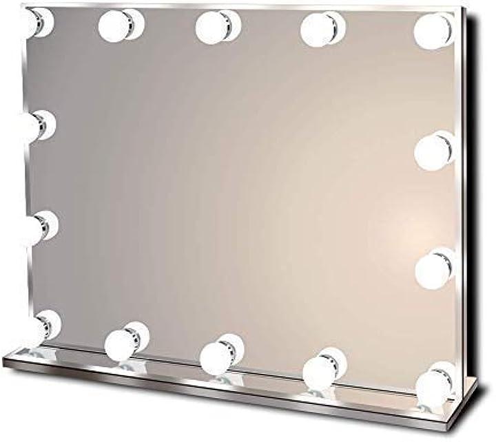 Specchio per trucco illuminato vanitoso hollywoodiano con luci a led brillanti - 14 lampadine -  star vision M12V-001-C