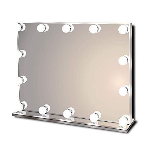 Star Vision Hollywood Spiegel mit Beleuchtung, Beleuchteter Schminkspiegel für Schminktisch, 14 Dimmbare LED Lampen, Mehrere Farbmodi, Tischplatte oder Wandhalterung, Groß
