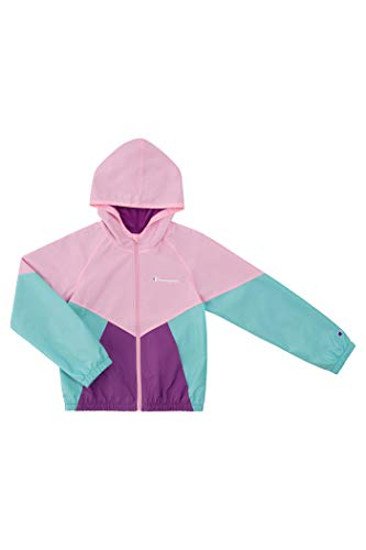 Champion Heritage Girls Kids Clothes Windbreaker Jacket With Hood (Large, Pink Candy/Bubbly Pink)