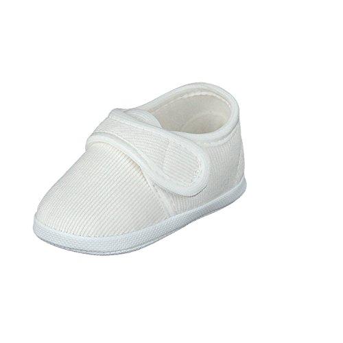 Omnia-Baby pantau.eu Taufschuhe Babyschuhe Lauflernschuhe Kinderschuhe Krabbelschuhe, festliche Baby Schuhe, Cord, Klettverschluss, Weiß, Größe EU 18 (Herstellergröße: 11)
