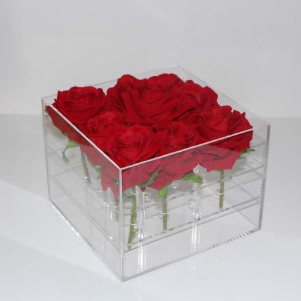 LINCH 1/9/16/25 Löcher Klare Acryl Rose Blumenkasten Makeup Organizer Kosmetische Werkzeuge Halter Blume Geschenkbox Für Freundin Frau, 16 Löcher