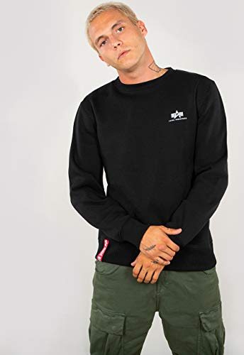 ALPHA INDUSTRIES Herren Basic Sweater Small Logo Sweatshirt, Negro, XL
